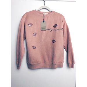 NWT Zara   Pink Embellished Lips Beauty Sweatshirt